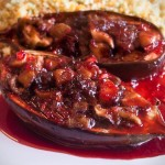 Shiitake and Date Stuffed Baby Eggplants
