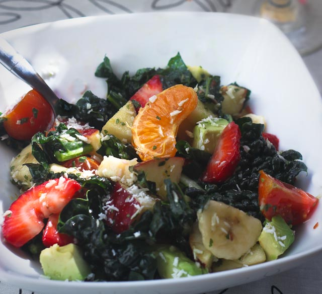 Fruit & Kale Salad with Coconut Lime Dressing