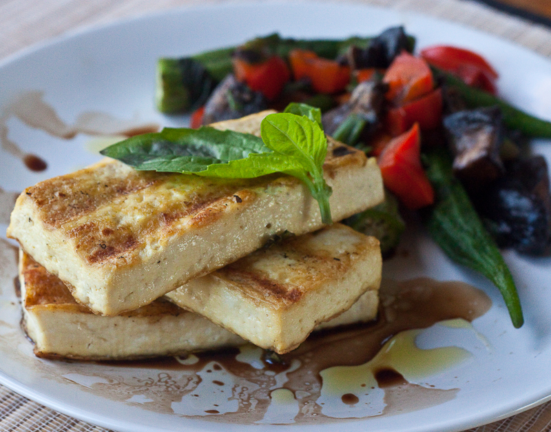 Grilled Tofu w/ Red Peppers, Mushrooms and Okra