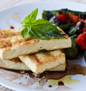 Basil Grilled Tofu with Okra, Red Peppers and Portabellas