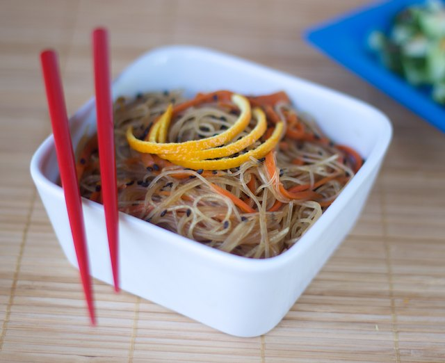 vegan gluten free orange sesame noodles