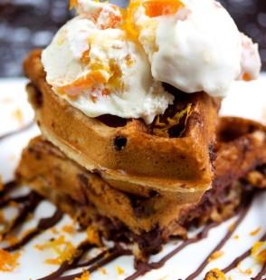 Chocolate Chip Waffles with Kumquat Ice Cream