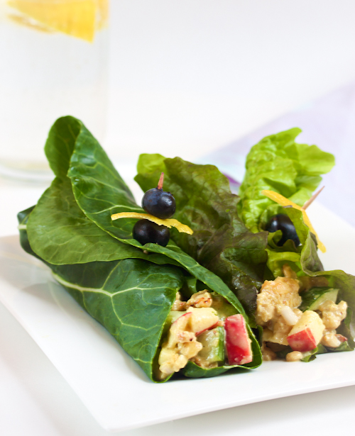 curried tempeh chard wraps
