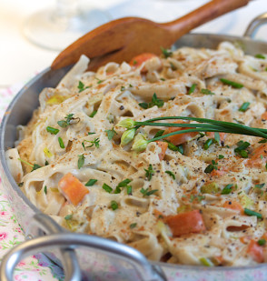 Maitake Fettuccine in Cream Sauce
