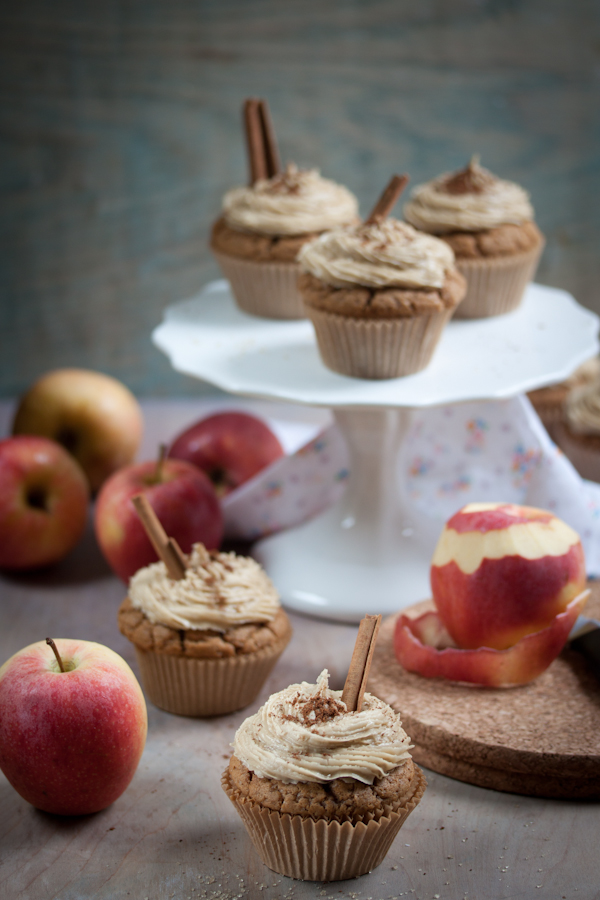 apple cider cupcakes with caramel frosting vegan gluten-free