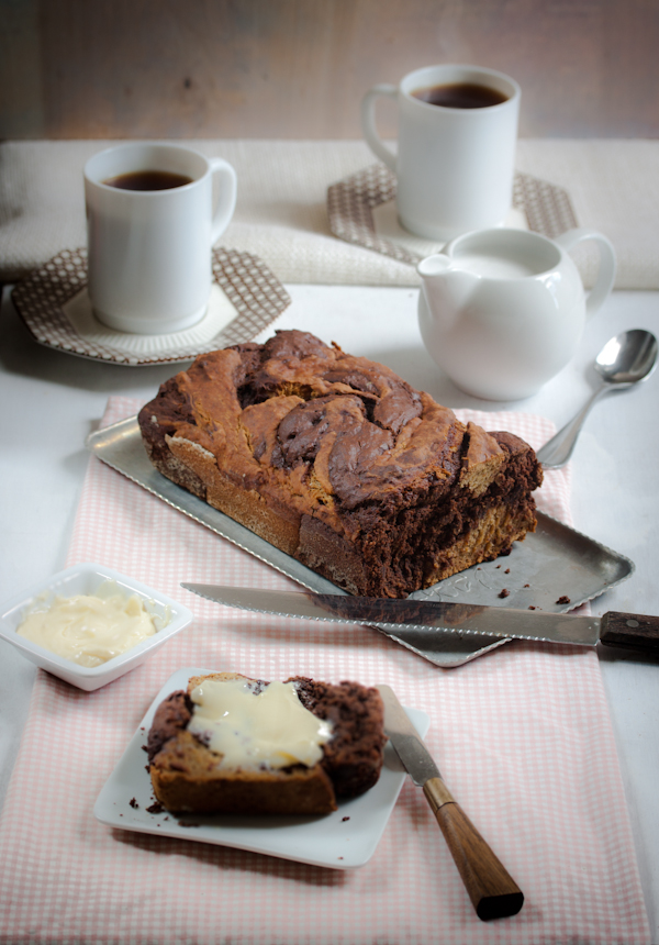 large chocolate swirl banana bread vegan gluten-free