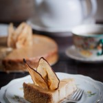 pear ginger cheesecake with salted caramel sauce vegan gluten-free
