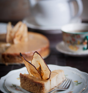 Pear and Ginger Ricotta Cheesecake with Salted Caramel Drizzle