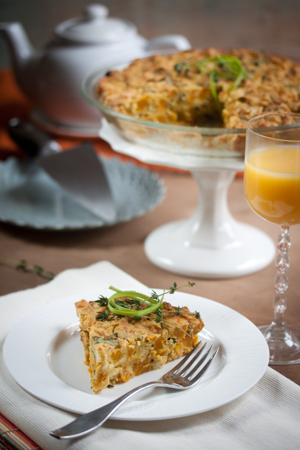 roasted pumpkin and collard quiche