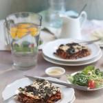 vegetable lasagna with kale, beluga lentils & carrot