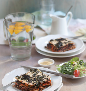 vegetable lasagna with kale, beluga lentils & carrot