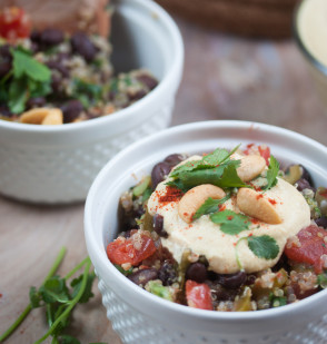 Quinoa and Black Beans with Cashew Queso Sauce from Robin Robertson's New Book