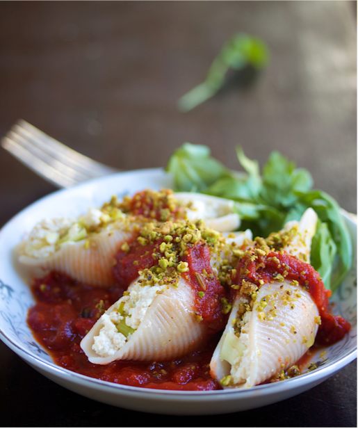 Leek and Ricotta Stuffed Shells