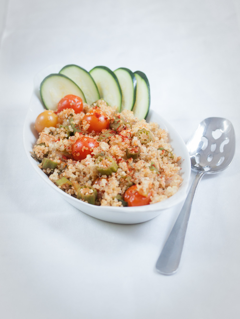 summer okra and quinoa pilaf -Allyson Kramer
