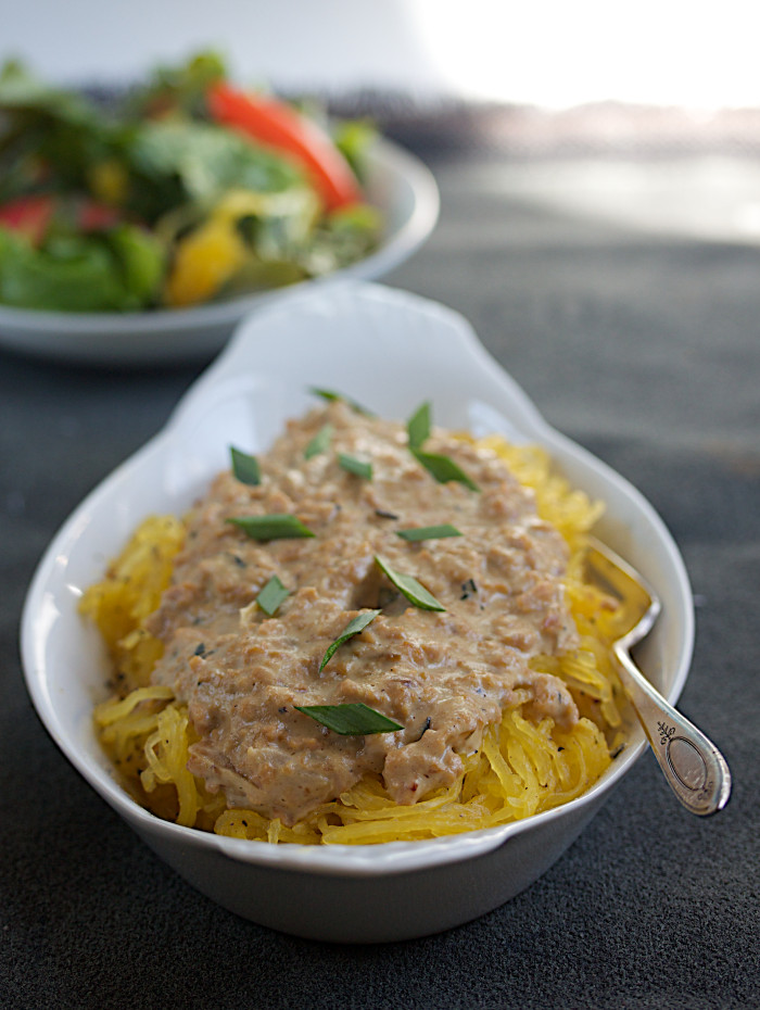 Spaghetti Squash with White Rosemary Bolognese