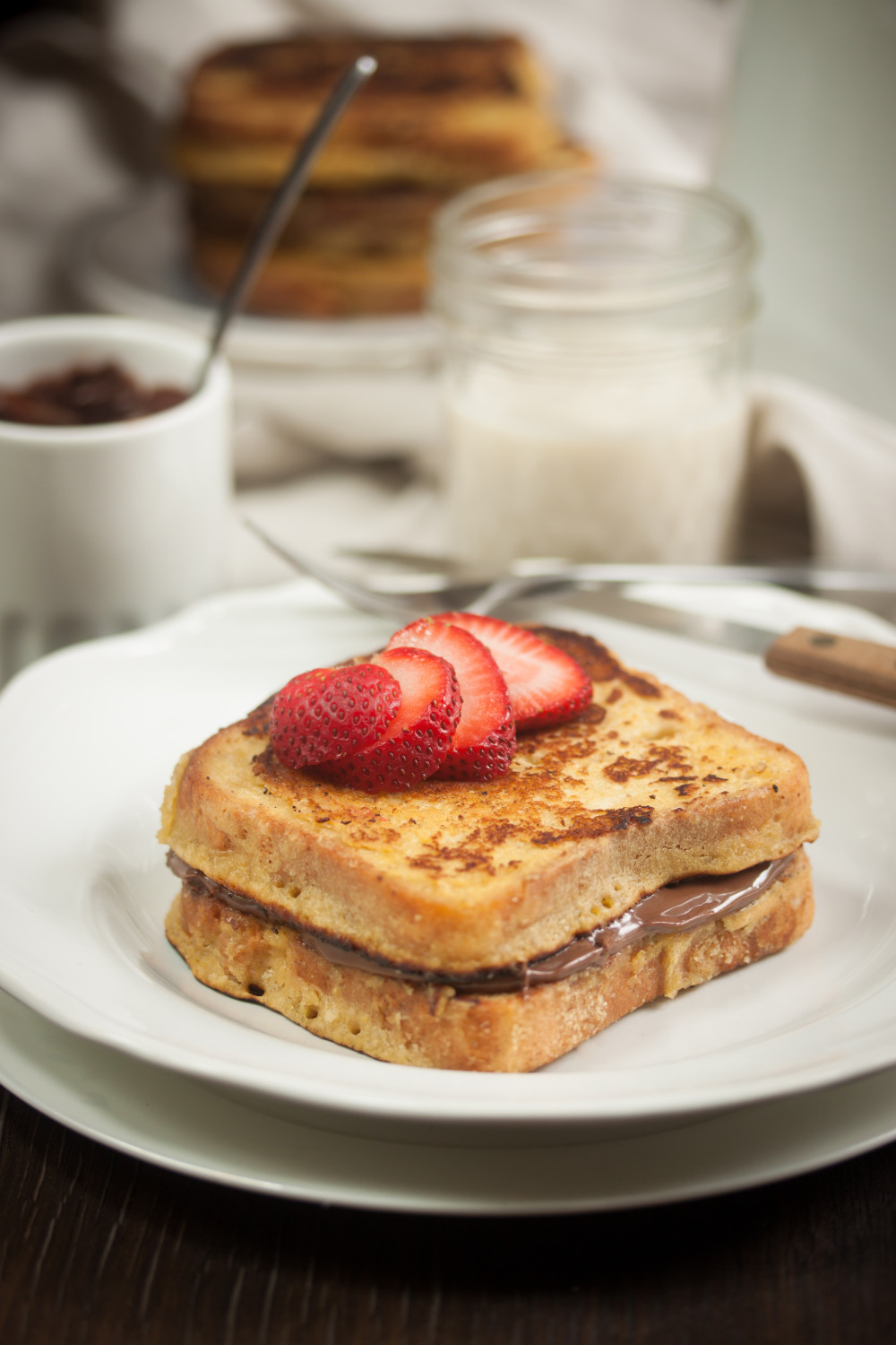 vegan gluten-free french toast with chocolate hazelnut butter