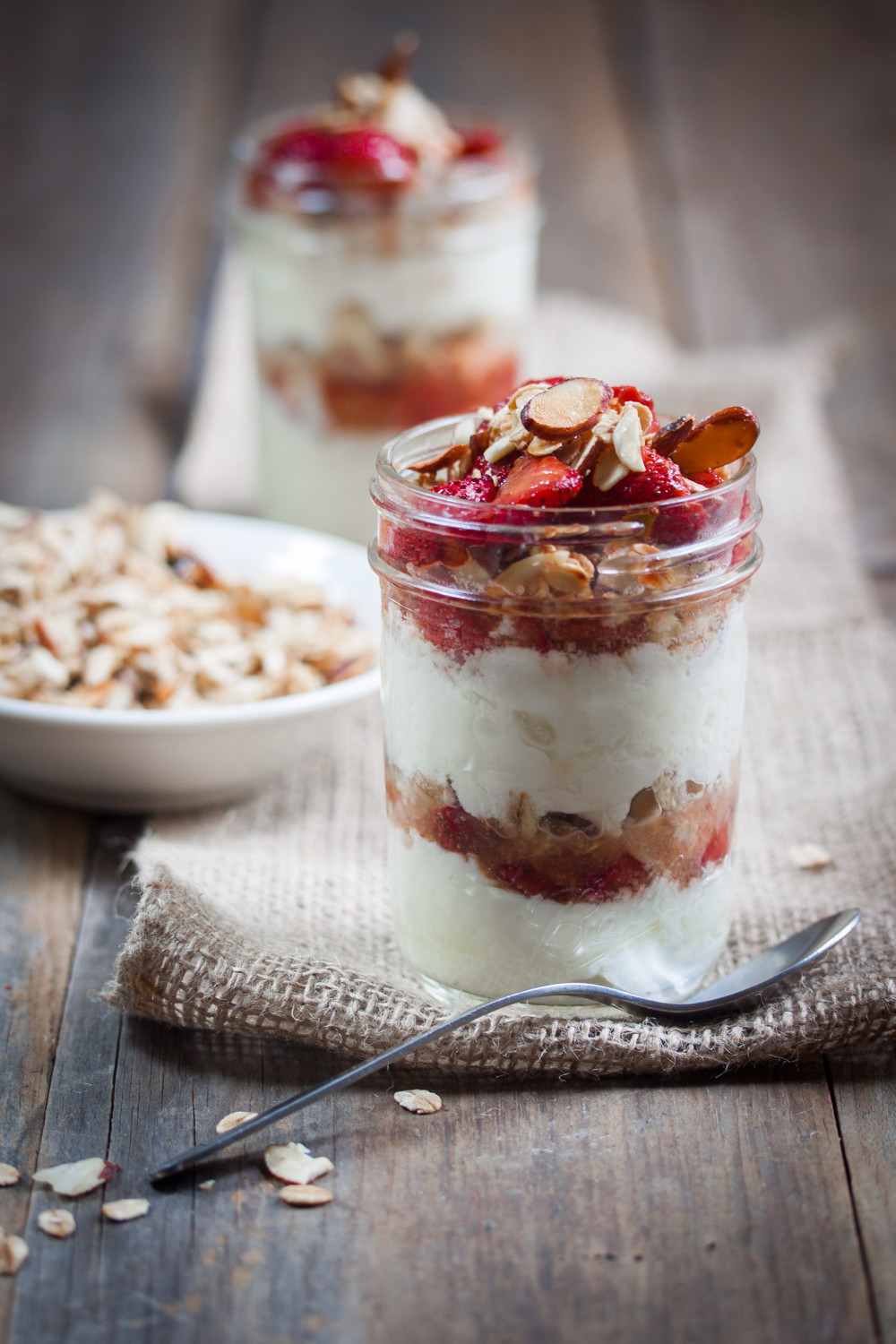 Roasted Strawberry & Vanilla Almond Parfaits | Allyson Kramer